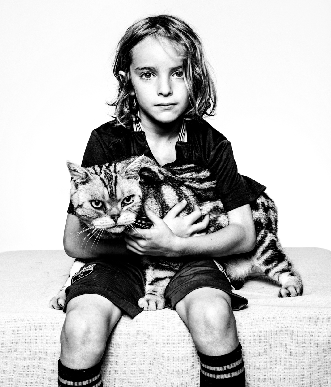 Los Angeles Portrait Photographer -  Seven and his cat  in studio by Ray Kachatorian